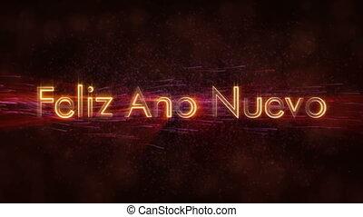 """Happy New Year"" text in Spanish ""Feliz Ano Nuevo"" loop..."