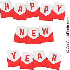 happy new year text of red letters