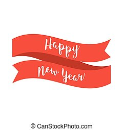 Happy New Year text with red ribbon on white background. Vector illustration in flat stylized design for web, banner, poster, print, greeting card