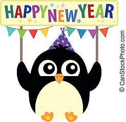 Happy New Year theme with cute penguin