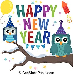Happy New Year theme with owls