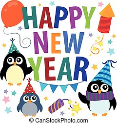 Happy New Year theme with penguins - eps10 vector...