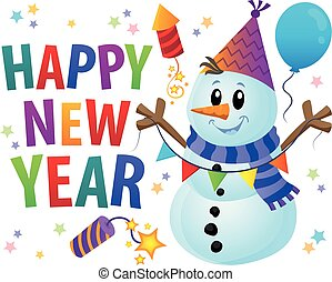 Happy New Year theme with snowman 1