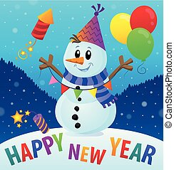Happy New Year theme with snowman 2
