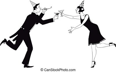 Happy new year toast - Couple dressed in 1920 fashion having...