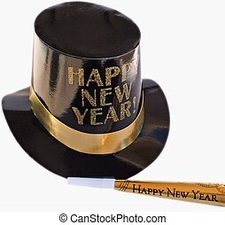 Happy New Year - top hat and blower with happy New Year...