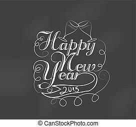 Happy new year typography retro