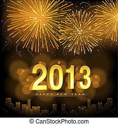 Happy New Year - Fireworks Background Illustration, Vector