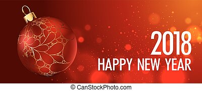 Happy New Year vector greeting card gold Christmas ball on red background