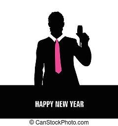 happy new year vector with man