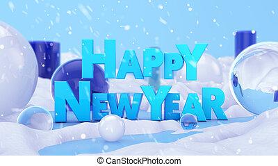 Happy New Year Winter Landscape 3D Scene