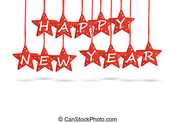 Happy new year wish with red stars isolated on white background