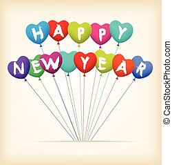 happy new year with balloons shape