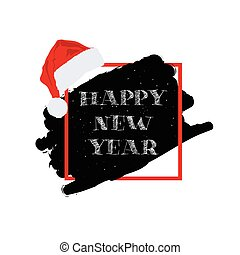 happy new year with christmas hat illustration