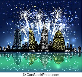 happy new year with firework city