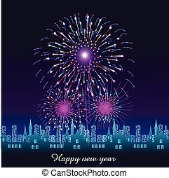 Happy New Year with fireworks background