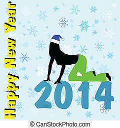 happy new year with girl background color vector