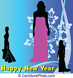 happy new year with girl color vector