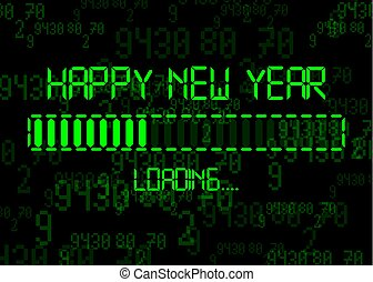 Happy new year with loading icon in flat green led neon digital time style. Display progress bar almost reaching new year's eve 2020. Isolated on Abstract Binary Computer Code Technology Background