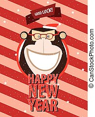 Happy New Year with monkey in festive frame