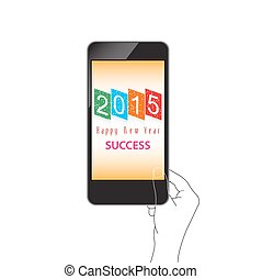 happy new year with phone on hand