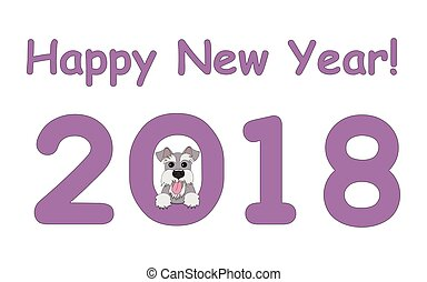 Happy New Year with schnauzer - Digits 2018 with funny...
