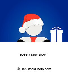 happy new year with snowman blue vector