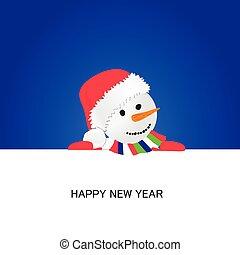 happy new year with snowman cartoon vector