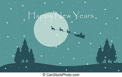 Happy New Year with train Santa scenery