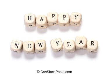 happy new year wooden cubes