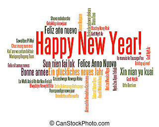 Happy New Year word cloud - Happy New Year in different ...