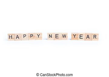 HAPPY NEW YEAR word on square tile concept isolated on white background