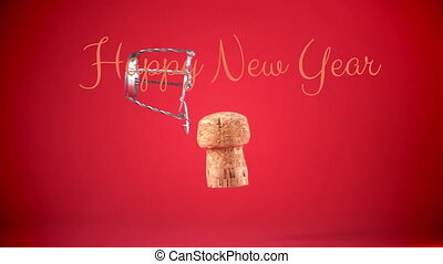Happy New Year written on red background