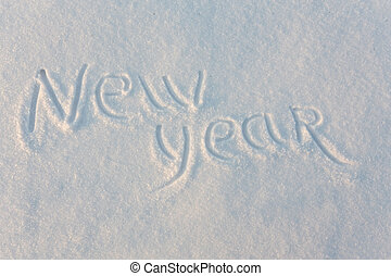Happy New Year written on snow