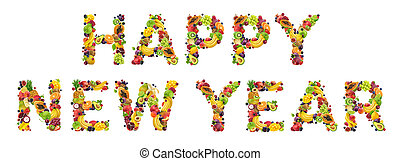 Happy new year written with fresh food ingredients