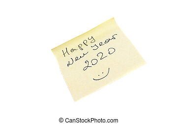 Happy New Year yellow sticker isolated on a white background.
