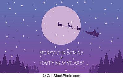 Happy New Years with train Santa on the sky