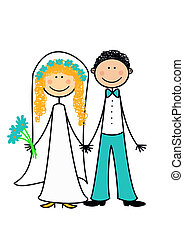 Happy newly married coupl