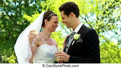 Happy newlyweds drinking champagne in the countryside on...