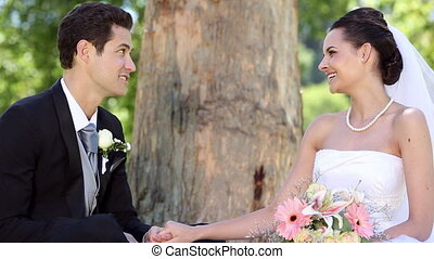 Happy newlyweds sitting in the park beside a tree on a sunny...