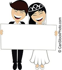 A beautiful black haired bride and a bridegroom in suit are holding a big white board