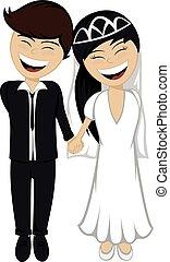 Happy newlyweds smiling