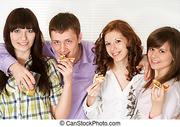 Happy nice Caucasian campaign of four people eating pizza