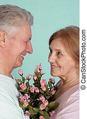 Happy nice Caucasian elderly people together