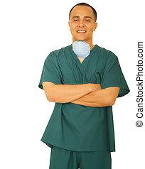 Happy Nurse Folding Hand