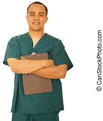Happy Nurse Holding Clipboard