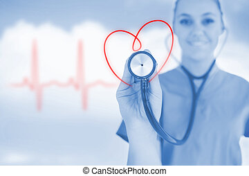 Happy nurse holding up stethoscope to heart design in blue ...