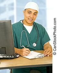 Happy Nurse In His Office