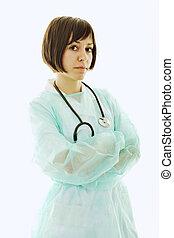 happy nurse with stethoscope  isolated on white