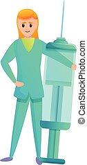 Happy nurse with syringe icon, cartoon style